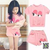韓版女童休閒運動套裝 兒童裝夏季薄款純棉卡通短袖短褲 兩件套裝  一件免運