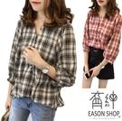 EASON SHOP(GU6185)文青風燈籠袖排扣V領格子長袖襯衫七分袖格紋棉麻女上衣服格紋春夏裝韓版寬鬆
