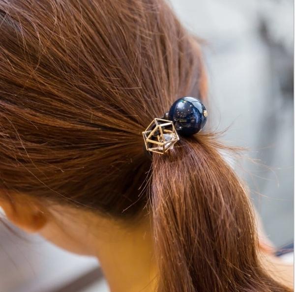 ►韓版鏤空金屬超閃水鑽大珍珠 彈力橡皮筋頭繩髮圈【B5038】