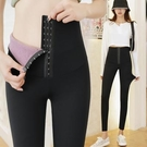 芭比褲加絨排扣芭比女塑型束腰外穿高腰收腹提臀緊身瑜伽褲九分打底【快速出貨】