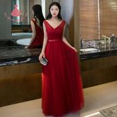 敬酒服新娘長款夏酒紅色宴會晚禮服顯瘦主持人禮服女長裙洋裝 巴黎時尚生活