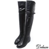 【Deluxe】全真皮百搭細線帶可折兩穿式低跟長筒靴(黑)