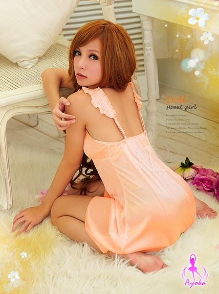 睡衣 性感睡衣 粉橘甜心飄逸柔緞情趣性感睡衣-星光密碼C035