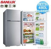 【佳麗寶】-留言加碼折扣(台灣三洋SANLUX)480L 風扇雙門電冰箱 SR-C480B1