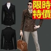 毛呢外套簡單復古-貴氣獨特素面雙排扣男大衣2色61x41【巴黎精品】