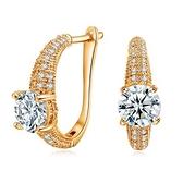耳環 玫瑰金 925純銀鑲鑽-華麗動人生日情人節禮物女飾品2色73gs240【時尚巴黎】