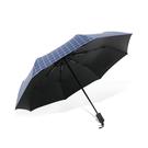 (買1贈1)傘霸 格紋黑膠晴雨兩用三折傘