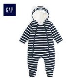 Gap男女嬰兒 可愛熊耳造型絨毛內裡包屁衣 494340-海軍藍色