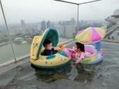 潮品兒童游泳圈 座圈加厚寶寶遮陽坐圈 方向盤坐艇防曬帶蓬包郵潮