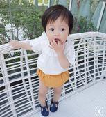 七夕全館85折 女嬰童寶寶夏白色荷葉領上衣1-3翻領短袖T恤