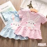 2019夏裝女童短袖T恤新款兒童條紋裙下擺t恤衫寶寶小兔子印花上衣