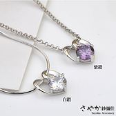 【Sayaka紗彌佳】925純銀微加幸福愛心鑲鑽項鍊