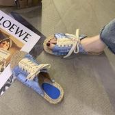 草編鞋 糖果色拖鞋女夏繫帶外穿2020新款百搭學生平底仙女風草編漁夫涼拖-Ballet朵朵