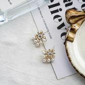 【NiNi Me】韓系耳環 氣質甜美珍珠水鑽方形水晶925銀針耳環 耳環 N0487