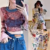 克妹Ke-Mei【AT70356】採購精選任二件188辛辣復古字母透視長袖罩杉上衣