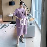 孕婦夏裝大碼T恤中長款夏季時尚印花過膝寬鬆孕婦連身裙夏天裙子【Kacey Devlin】