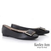 Keeley Ann經典素面 知性美菱格紋全真皮平底包鞋(黑色) -Ann系列