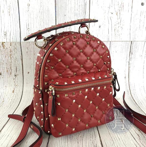 BRAND楓月 VALENTINO 范倫鐵諾 紅色 皮革 經典 鉚釘 小 後背包 雙肩背包 手提包