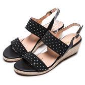 DIANA 仲夏風味--鬆緊繃帶金屬水鑽菱格楔型涼鞋-黑★特價商品恕不能換貨★