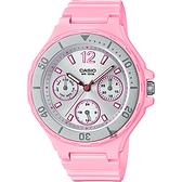 CASIO 卡西歐 迷你運動風日曆女錶-銀圈x粉紅 LRW-250H-4A2 / LRW-250H-4A2VDF