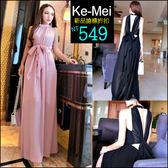 克妹Ke-Mei【ZT46522】泰國潮牌 名媛高腰多綁帶性感露背雪紡長洋裝