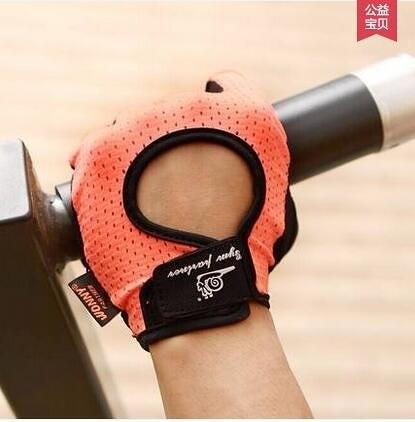 wonny 健身手套男運動手套女半指器械訓練單槓引體向上透氣防滑夏(橘紅一對)