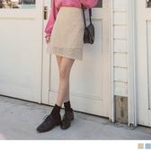 《CA1397》臧芮軒。純色滿版鏤空蕾絲短裙 OrangeBear