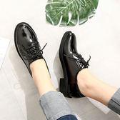 皮鞋女 繫帶商務正裝鞋女2018夏圓頭職業上班鞋黑色深口小皮鞋粗跟面試鞋 芭蕾朵朵