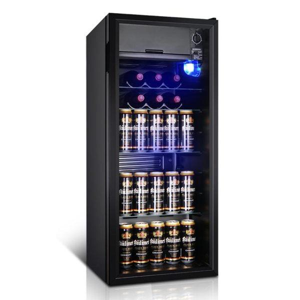 冰吧小型冰箱單門家用客廳透明玻璃茶葉櫃冷藏櫃保鮮冰箱 橙子