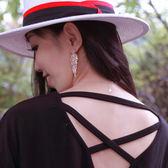 【人氣部落客Amigo 推薦款】義大利米蘭 高級訂製款設計 玫瑰金垂墜鑽耳環 REA01144N