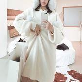 毛衣-兔毛長款V領純色寬鬆女針織衫3色73uc9【巴黎精品】