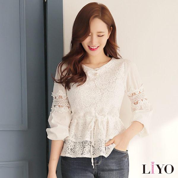 上衣鏤空蕾絲拼接女長袖襯衫LIYO理優E735011