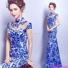 (45 Design)  客製化顏色尺寸領新娘長款婚紗晚宴年會演出主持人禮服13