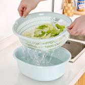 聖誕繽紛節❤塑料雙層洗菜籃瀝水籃 廚房洗菜籃子家用多功能圓形洗菜盆水果籃
