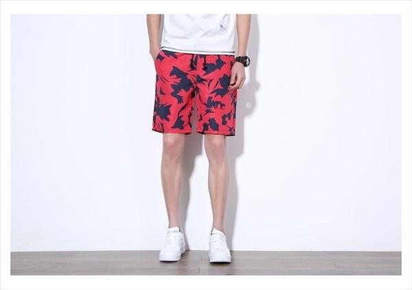 找到自己 MD 日系 時尚 潮 男 迷彩色 紅迷彩 五分褲 休閒短褲 海灘短褲