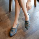 夏季時尚新款網紗镂空涼鞋女平底防滑民族風蕾絲繡花媽媽鞋女鞋