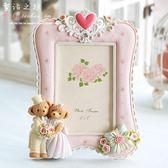 7寸韓式可愛家居飾品婚紗照相架擺台照片框相片框結婚小熊相框70【美物居家館】