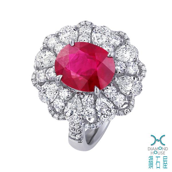 【鑽石屋】GRS 2.82克拉紅寶戒指