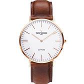 【VALENTINO 范倫鐵諾】經典皮革手錶-40mm 71418M白面玫瑰金咖啡帶