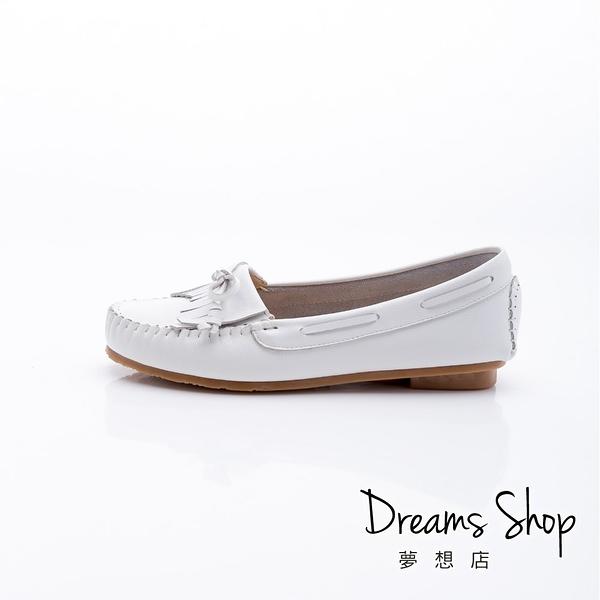 大尺碼女鞋 夢想店 MIT台灣製造流蘇蝴蝶結莫卡辛平底娃娃鞋1.5cm(41-45) 【HMB1011】白色