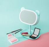 【薄荷綠(方形熊)】led化妝鏡臺式帶燈補光梳妝鏡子便攜宿舍折疊檯燈