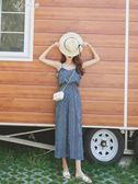 夏季條紋吊帶連身褲女韓版寬鬆九分連衣褲子        伊芙莎