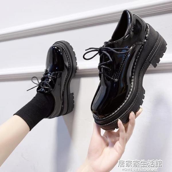 英倫風制服日系圓頭小皮鞋女2020秋季新款百搭厚底黑色軟皮鞋  聖誕節免運