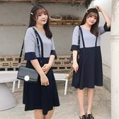 中大尺碼女裝胖妹妹假兩件連身裙夏季胖mm新款中長款裙子【583】