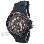 〔小禮堂〕Hello Kitty 矽膠運動手錶《黑.大臉》腕錶.運動錶 8014071-04101