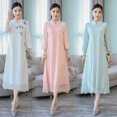 改良版旗袍秋冬新款女有女人味的民族風中國風端莊大氣洋裝連身裙洋裝 618降價