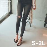 MUMU【P22279】第三代超貼腿-5KG黑色膝蓋破洞窄管牛仔褲。S-2L