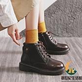 日系短靴馬丁靴女春秋百搭單靴【創世紀生活館】