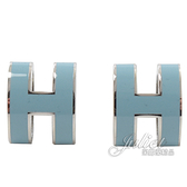 茱麗葉精品【全新現貨】HERMES POPH 經典H LOGO橢圓銀飾耳環.銀/水藍