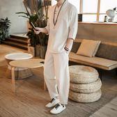 夏季亞麻套裝男士個性一套帥氣衣服七分袖T恤男短袖2019新款男裝 降價兩天